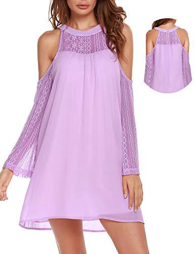 (ACEVOG Womens Cold Shoulder Hollow Lace Long Sleeve Patchwork Top Shirt Dress Chiffon Dress Pink Purple)