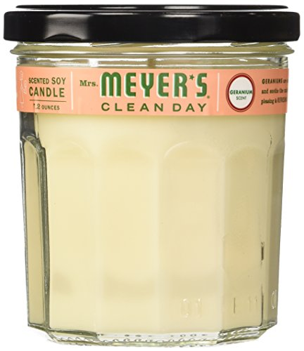 Mrs. Meyer's Clean Day Soy Candle, Geranium, 7.2 Ounce Glass Jar