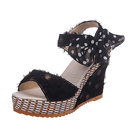 Cenglings Platform Sandals,Women Open Toe Polka Dot Print Wedges Sandals Tassel Shallow Wedge High Chunky Pumps Black -
