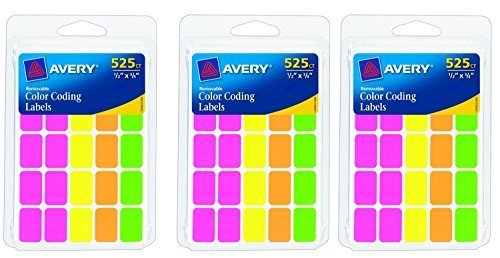 Avery Removable Color Coding Labels, Pack of 525, Rectangular, Assorted Colors, 3 Pack = Total 1575 ()