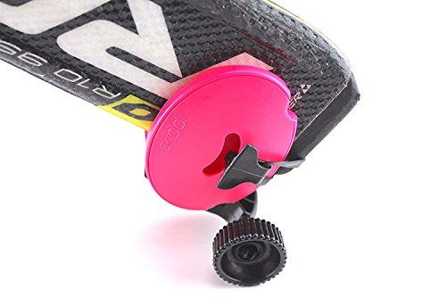 SKIDDI - ski Accessories Mini Pocket Trolley for Ski - Compatible with All skii - ski Poles -ski Rack - Kickstarter Funded -Pink