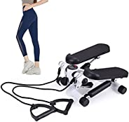 ixaer Step Exercise Machine with Exercise Bands,Compact Sports Step Machine,Household Mini Multifunctional Ste