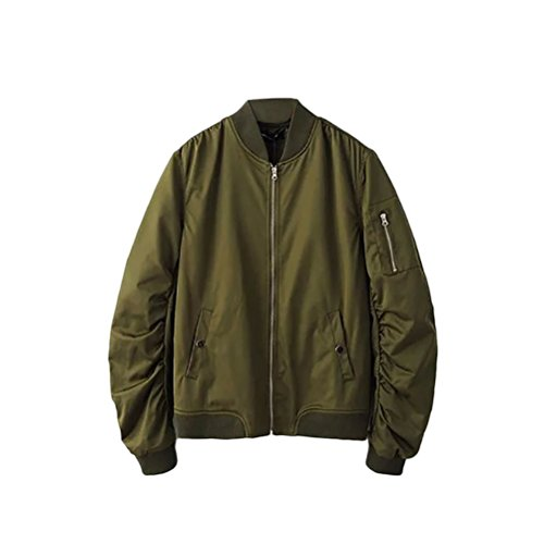 Jackets Classico Fit Non Colors Work Zhhlaixing Coats 4 Loose Mens Green Bomber padded tAxqd