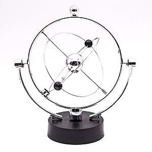 JLERU Movimiento perpetuo, Kinetic Vía Orbital Gadget de escritorio de Office Art Display decoración del hogar (Plata)
