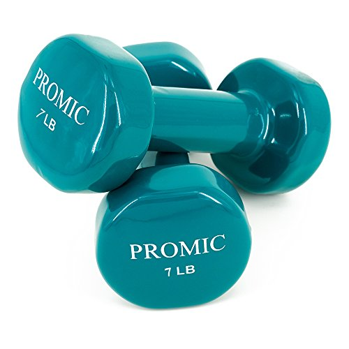 PROMIC Barbell Rubber 1lb to 20lb Hand Weights Deluxe Solid Vinyl Dumbbells with Non-Slip Grip for Fitness Exercise,Set of 2