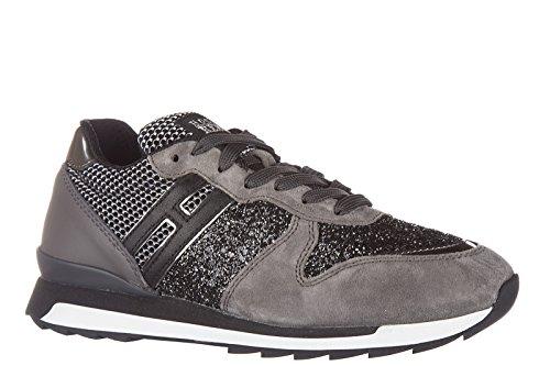 Hogan Rebel chaussures baskets sneakers femme en daim r261 allacciato gris
