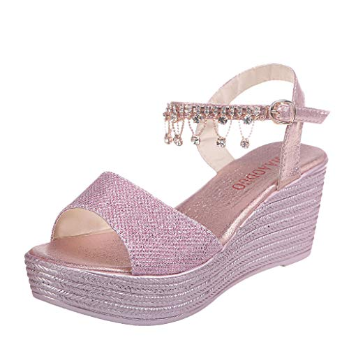 Women's Annadel Eirwyn Wedge Sandal,FAPIZI Ladies Pearl Thick Bottom Belt Buckle Roman Sequin Casual Shoes Pink