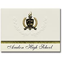 Signature Announcements Avalon High School (Wilmington, CA) Graduation Announcements, Presidential style, Basic package of 25 with Gold & Black Metallic Foil seal