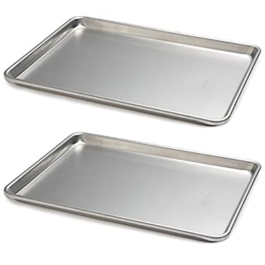 Focus Foodservice 900850 Commercial Bakeware 13 by 18 Inch 18 Gauge Aluminum Half Sheet Pan, 2-Units