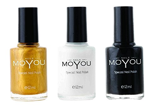 MoYou Nails Bundle of 3 Stamping Nail Polish: Black, Gold and White Colours used to Create Beautiful Nail Art Designs Sourced Directly from the Manufacturer -