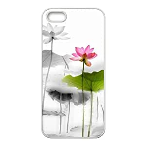 Customized Cover Case with Hard Shell Protection for Iphone 5,5S case with Beautiful flowers lxa#876926