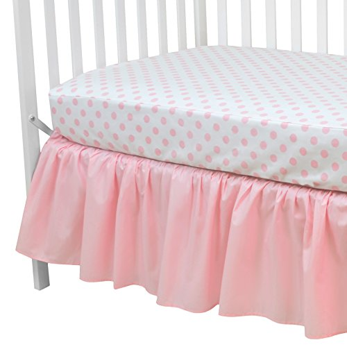 y 100% Cotton Percale Standard Crib and Toddler Mattress Bundle, Pink Dots Fitted Sheet and Skirt, for Girls ()