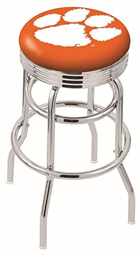 Logo Series Bar Stool NCAA Team: Clemson, Size: 25'', Frame Type: Double Ring Chrome by Holland Bar Stool Co.