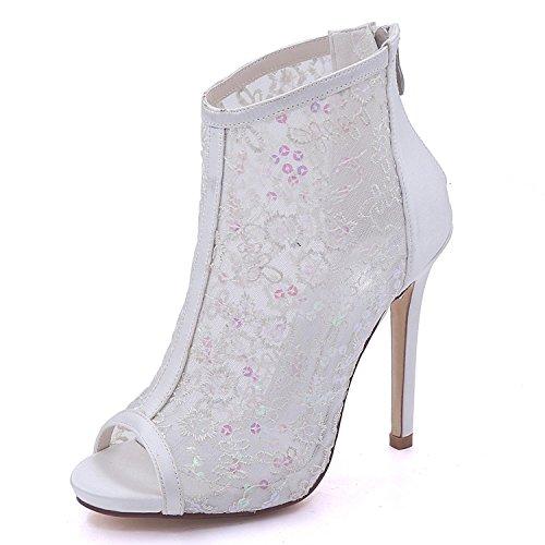 Alto Boda de Ivory de Encaje Honor Peep Dama Toe 7216 Para Cremallera shoes Satinado Elegant Mujer multicolora y Tacón high 01B ZwEq1TTgx
