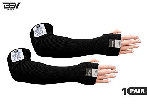 Kevlar Sleeves- Heat, Scratch, Cut & Knife Resistant Arm Protective Sleeves with Thumb Hole- Arm Safety Mechanic Sleeves- Long Arm Guard Protector for Work- Bite Proof- 18 Inches, Black, 1 Pair