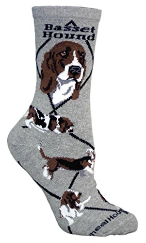 Basset Hound Dog Gray Cotton Ladies Socks, Adults 9-11