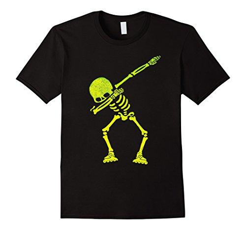 Mens Halloween Dabbing Skeleton Roller Skating Dab T-Shirt Small Black
