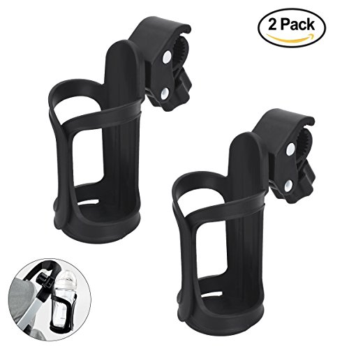 YoungRich 2 Pieces Bike Cup Holder Universal Cup Holder Storage Rack for Baby Stroller Wheelchair Pushchair Bicycle Stroller Cup Holder 360 Degree Rotation Black by YoungRich