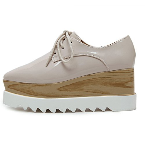 TENGYUFLY Women's Platform Wedges Oxfords Classic Casual Lace Up Mid Heels Wingtips Square Toe Shoes (US5.5=EU37=23.3CM, Beige)