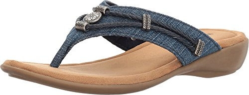 - Minnetonka Women's Silverthorne Thong Blue Denim Fabric 8 M US