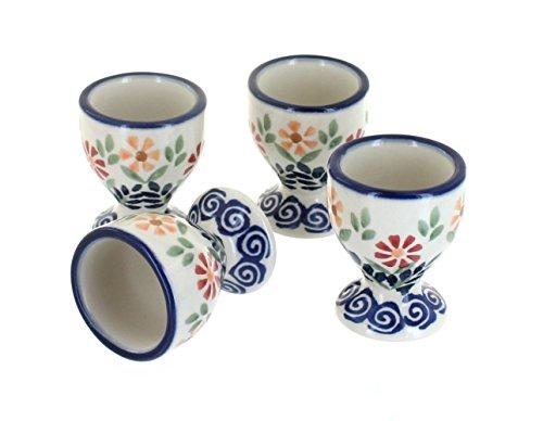 Blue Rose Polish Pottery Garden Bouquet Egg Cup -