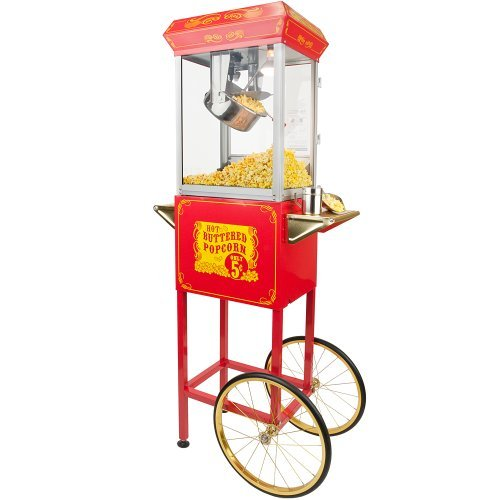 Funtime Sideshow Popper 8-Ounce Hot Oil Popcorn Machine with Cart, Red Gold