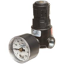 "Dixon R03-02RG Wilkerson Miniature Regulator with Gauge, 1/4"" Size, 15 SCFM Flow, 300 psig Pressure"