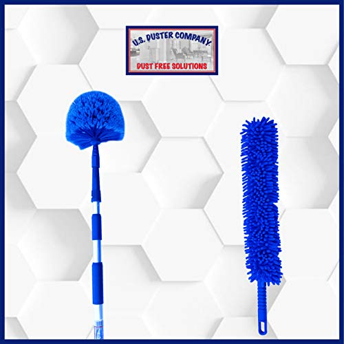 Ceiling Fan Duster Cobweb Duster, Extendable Reach 20 feet,   3-Stage Aluminum Telescoping Pole   Extends for High Ceiling Duster   Long Handle Plus 2 Duster Heads by U.S. Duster Company (Image #8)