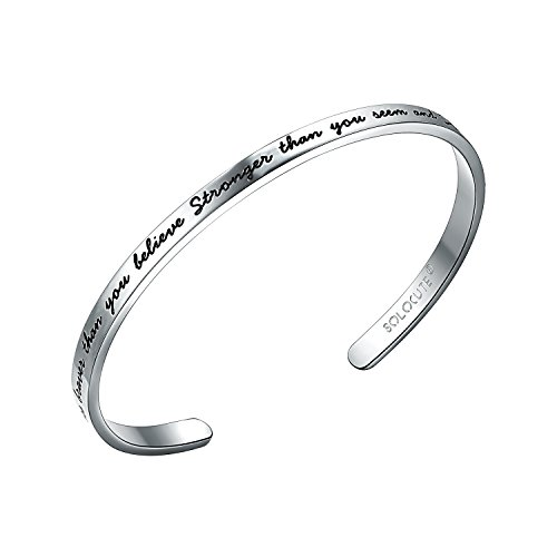 SOLOCUTE Silver Cuff Bangle Bracelet Engraved
