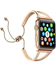 Brione Adjustable Bands Compatible for Apple Watch Band Series 4 3 2 1, Stainless Steel iWatch Bracelet Women Ladies 38mm 40mm 42mm 44mm Wristband Strap Bangle Cuff Loop with Bling Pendant