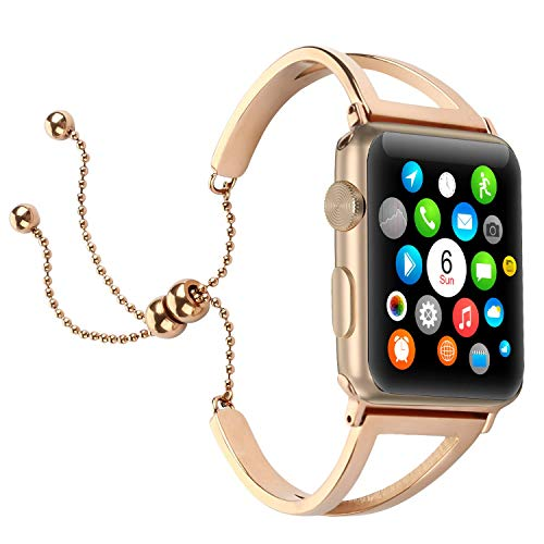 Brione Compatible for Apple Watch Band 42mm 44mm, Adjustable Stainless Steel Pendant Tassel for iWatch Bracelet Bands Series 4 3 2 1 Replacement Wristbands Strap Bangle Cuff for Women Girls-Rose Gold (Stainless Steel Pendant Solid)