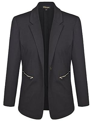 Chicwe Women's Stretch Plus Size Work Blazer Suit Jacket with Metal Zipper 1X-4X