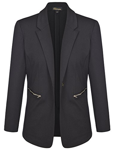 Chicwe Women's Plus Size Stretch Solid Work Blazer Suit Jacket with Metal Zipper 3X by Chicwe