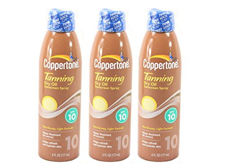 Dry Oil Continuous Spray (Coppertone Tanning Dry Oil Sunscreen Spray, SPF 10 6 fl oz (177 ml) Pack of 3)