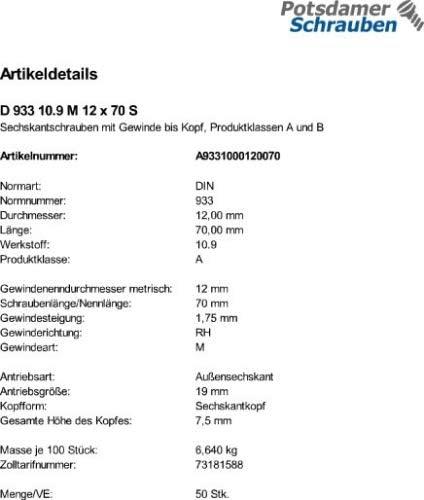 50 Sechskantschrauben DIN 933 10.9 schwarz M12x70