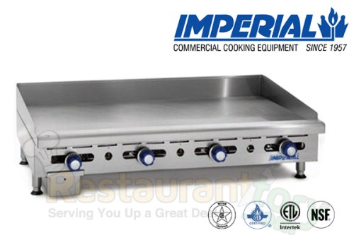 Imperial Commercial Griddle Manually Controlled 4 Burners 48'' Wide Plate Nat Gas Model Imga-4828-1 by Imperial