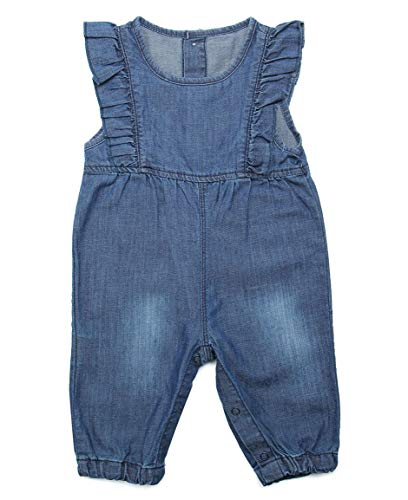 BAIXITE Baby & Little Girls Soft Embroidered Denim Overalls Adjustable Washed Jeans Dungarees (3-24 Months) (9-12 Months, Ruffles 02)