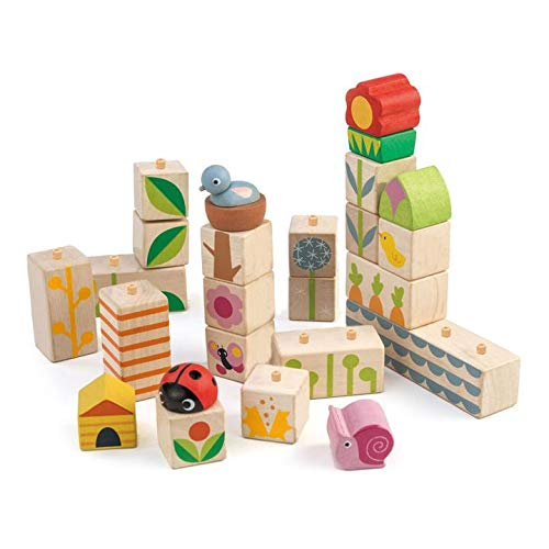 (Tender Leaf Toys - 24 Piece Garden Themed Push & Click Stacking Blocks - Developmental Toy with Animal & Nature Themed Graphics - Develops Strategic Thinking & Fine Motor Skills - Kids 18 Months +)