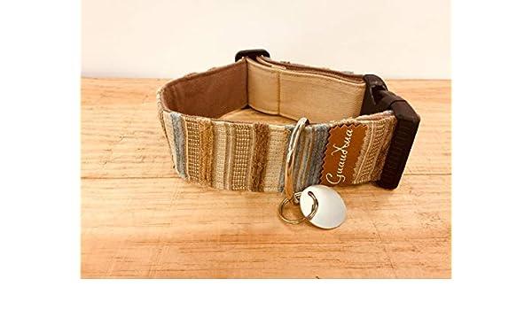 Collar ajustable para perro hecho a mano + chapita personalizable ...