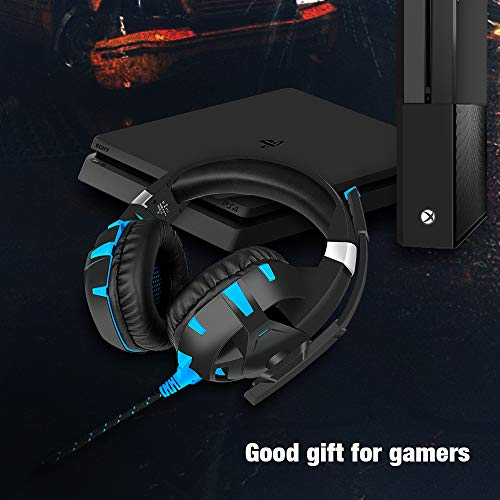 Gaming Headset for Xbox One, Y-Team Gaming Headphone with Noise Cancelling Microphone, Stereo Audio, Soft Earmuff, LED Light for Xbox One/PS4/PC/Mac/Laptop/Switch(Blue)