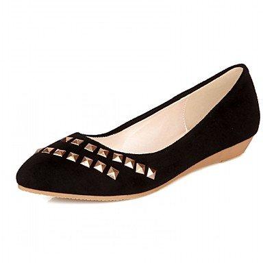 RUGAI-UE Moda de Verano Mujer sandalias casuales zapatos de tacones PU Confort caminar al aire libre,Amarillo,US6.5-7 / UE37 / UK4,5-5 / CN37 Black