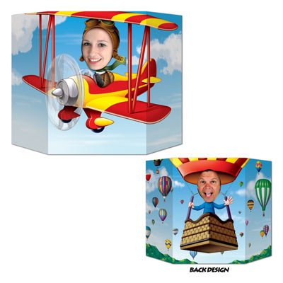 Biplane/Hot Air Balloon Photo Prop (1 side biplane; other side hot air balloon) Party Accessory  (1 count) (1/Pkg)
