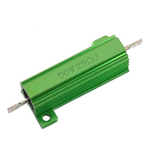(RilexAwhile Aluminum Shell Resistor 50W 25 Ohm Chassis Screw Tap Mounted Wirewound Resistors Green Heatsink)