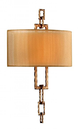 Troy Lighting Link 2-Light Wall Sconce - Bronze Leaf Finish with Hardback Organza ()