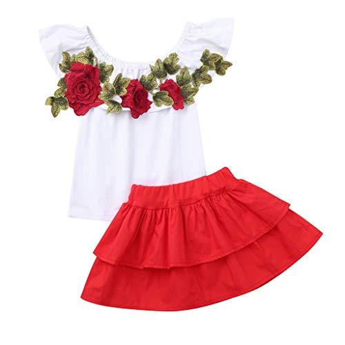 ❤️ Mealeaf ❤️ Toddler Baby Kids Girl Off Shoulder Embroidery Rose Flowers Tops+Skirts Outfits -
