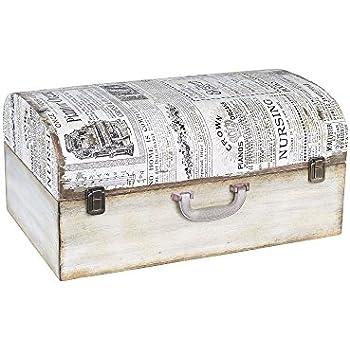 Household Essentials 9527-1 Vintage Wood Suitcase Storage Trunk Large White/Newspaper  sc 1 st  Amazon.com & Amazon.com: Household Essentials 9527-1 Vintage Wood Suitcase ...