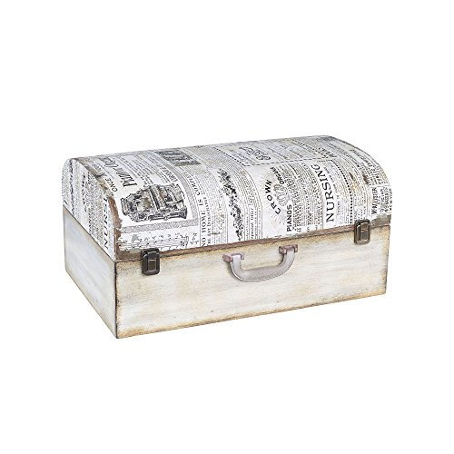 Household Essentials 9527-1 Vintage Wood Suitcase Storage Trunk, Large, White/Newspaper by Household Essentials