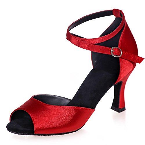 Cm Alto Raso Tacco Raso Red da di Ballo Tacco Peep con 5 Prom da A8349 Donna Arricciatura Elobaby Scarpe Toe 7 in con Fibbia Incrociata P1qAwnU4
