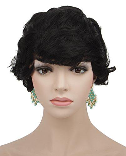 Spretty Women's Elegant Black Wig Short Bob Style Curly Wavy Hair for Lady Cosplay Party