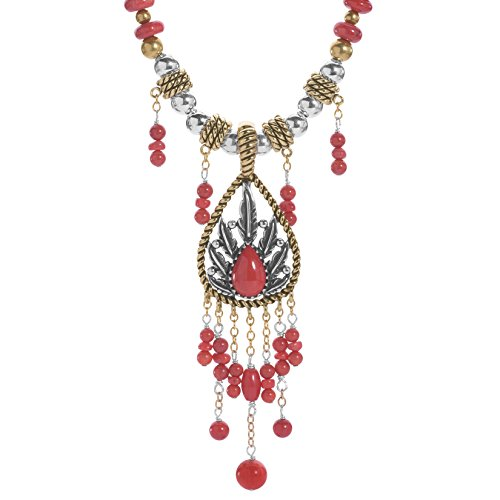 Coral Nugget Silver Necklace - American West Sterling Silver & Mixed Metal and Red Coral Enhancer on Beaded Necklace 17 to 21 Inch